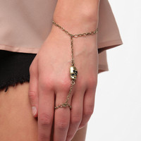 Urban Outfitters - Skull Ring-To-Wrist Bracelet