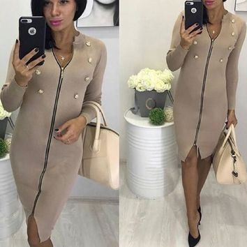 Khaki Zipper Studded Cut Out Long Sleeve Fashion Midi Dress
