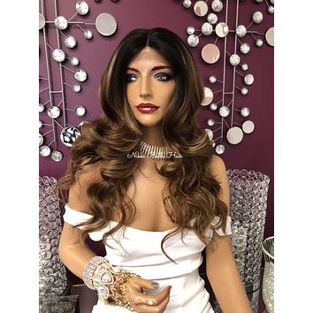 Balayage Dark Blonde Highlights Curly Wavy Long Swiss Multi Parting Lace Front Wig 22"