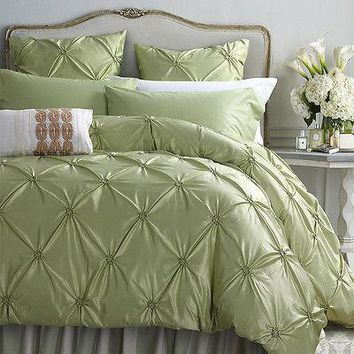 6pc. Pinched Pleated Luxury Queen King Size Handiwork Duvet Cover Bedding Set