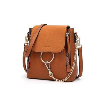 CHALLEN New Fashion Japan and Korean Style Women's Backpack Solid Color PU Leather Good Hardware Chain Leisure Bag ElUnico 3256