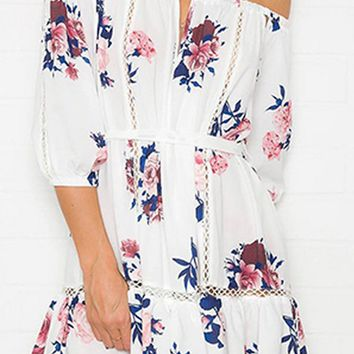 Key Biscayne White Floral Pattern Elbow Sleeve Off The Shoulder Lace Trim Cut Out Casual Mini Dress