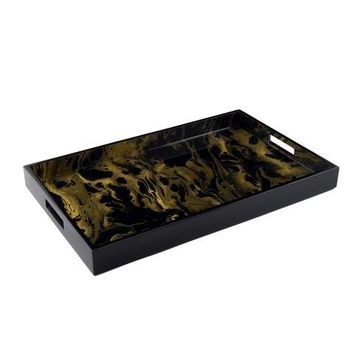 Black Gold Marble Paper Inlay with Lacquer Breakfast Tray