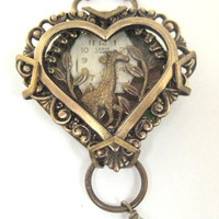Giraffe Heart Under Glass Steampunk by JewelsByNature on Etsy