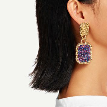 Snakeskin Pattern Textured Drop Earrings