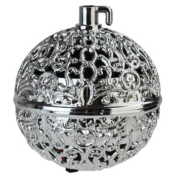 "2.75"" Silver Filigree Chirping Bird Ball Shaped Christmas Ornament"