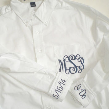 Bride Wedding Shirt Pocket Monogram with 2 Cuff Embroidery Over Sized Button Down Oxford
