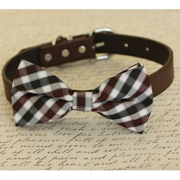 Plaid Brown dog bow tie attached to collar, Pet wedding, dog birthday gift