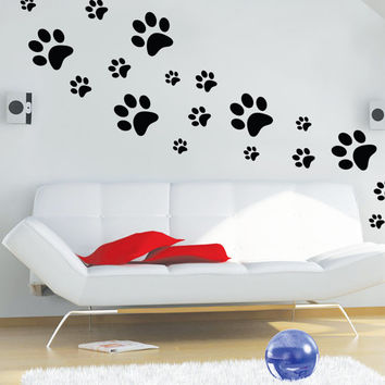 Paws wall decals,Dog Paw Decal, Paw decal Pattern,Paw decor,Dog Wall Decor,Dog Pawprints Wall Decals