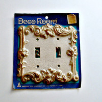 Double Switch Plate Vintage Ornate Deco Room French White with Gold Tone Color Vintage  American Tack and Hardware Co