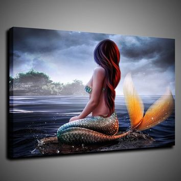 """Mermaid"" Island.Art Pictures HD Modern Home Wall Fashion Decor Canvas Print Oil Painting 24''x30''"