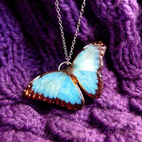 Blue butterfly necklace, Spring jewelry, Butterfly necklace, Butterfly jewelry, Insect jewelry, Free Shipping Worldwide,