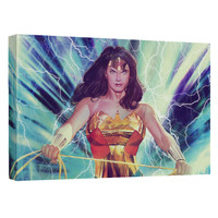 Wonder Woman Stormy Heroine Stretched Canvas Wall Art