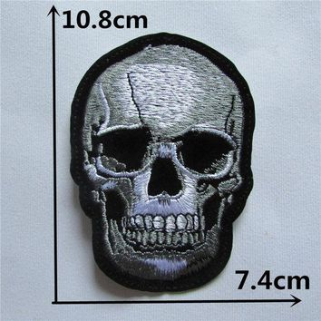 ac NOOW2 Skull Head Hot melt adhesive clothing patches stripes 1pcs applique embroidery blossom DIY accessories Ultra-low prices C106