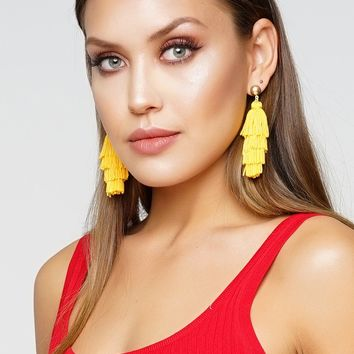 High Fringe Earrings - Yellow