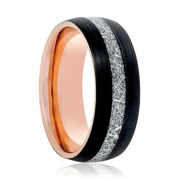 Men's Black Tungsten Carbide Ring With Rose Gold & Meteorite Inlay 8mm