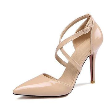 Crossed Strap Sexy High Heels Ladies Pointed Toe Patent Leather Pump