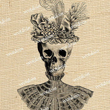 Steampunk Style Skull Wearing Victorian Hat Feathers Blouse Image Transfer Digital Download Printable Graphic