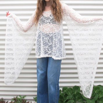 SALE! VINTAGE WOMENS Bohemian lace mini dress with angel amazing wing sleeves  60s 70s 80s 90s boho gypsy kimono woodstock festival