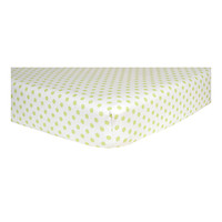 Sage Green And White Dot Print Flannel Crib Sheet
