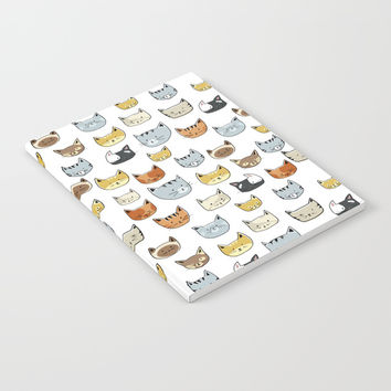 Cat Face Doodle Pattern Notebook by Tanyadraws