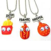 Best Friend Forever BFF Pendant Bead Chain Necklace Fast Food Cute Lovely Chips  Hamburger Kids Jewelry Movable Eye