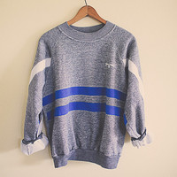 Vintage Sweatshirt Grey Blue Hipster Northwest Seattle Men's Medium  large Oversized Striped