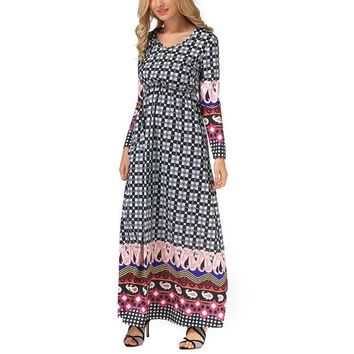 DCCK1E3 Womens Spring Maxi Dresses 2017 New Arrival Ladies Long sleeves Ethnic style With Belt For Women Pri