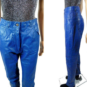 "tEMPSALE 80's Blue Leather Pants/ 29"" High Waist PIA RUCCI Trousers/ Rocker High Fashion Pants /Biker Groupie Clothing/ Electric Blue Skinny"