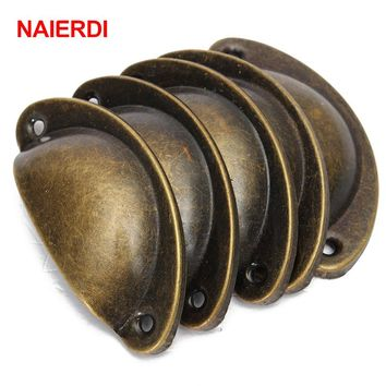 NAIERDI 20PCS Retro Metal Kitchen Drawer Cabinet Door Handle Furniture Knobs Handware Cupboard Antique Brass Shell Pull Handles