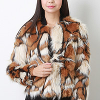 Tri-Tone Long Hair Faux Fur Coat