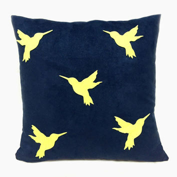 Yellow Humming Birds Navy Suede Pillow Cover. Hand Cut Modern Birds Cushion Cover. Spring Summer Decorative Throw Pillow