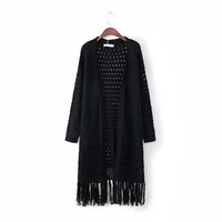 Women's Fashion Winter Tassels Sweater Hot Sale Knit Hollow Out Jacket [31066095642]