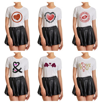 Women Love heart-1 Graphic Printed Short Sleeves T- Shirt WTS_07