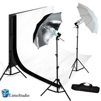 Limostudio Photography Photo Studio Lighting Kit Set & 10X10 White Black Muslin Backdrop Background Carrying Case, AGG720