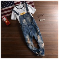Fashion Brand Designer Ripped Jeans Bib Overalls Men Slim Fit Skinny Overalls Jeans Man Casual Destroy Denim Jumpsuits Jeans