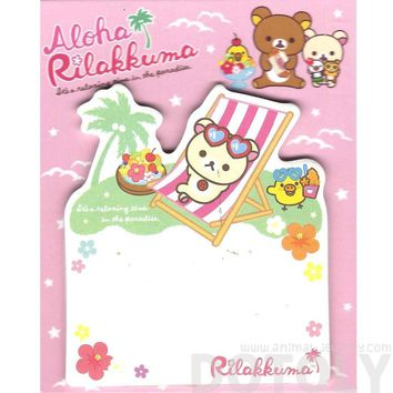 White Korilakkuma Teddy Bear on a Beach Chair Shaped Adhesive Post-it Memo Pads