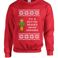 Cotton Headed Ninny Muggins Buddy the Elf Christmas Crewneck Knit Sweatshirt Funny Gift xmas santa party Present Holiday Movie Festive TT05