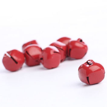 "Package of 48 Shiny Red 5/8"" Diameter Jingle Bells for Embellishing, Crafting and Creating"