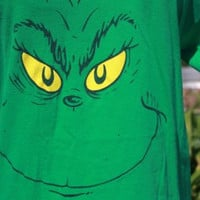 Dr Seuss How the Grinch Stole Christmas Grinch Face Green Graphic T-Shirt Size L