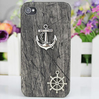 Silver Anchor Black Wood Grain  Hard Case Cover  for iPhone 4 Case, iPhone 4 Cover, iPhone 4s Case,iPhone Cover,to iPhone Cases 4,4s,apple