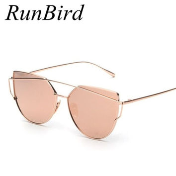 RunBird Mirror Flat Lense Women Cat Eye Sunglasses Classic Brand Designer Twin-Beams Rose Gold Frame Sun Glasses for Women M195