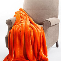 "BNF Home Plain Faux Fur Throw Couch Cover Sofa Blanket, 50 by 60"", Burnt Orange"