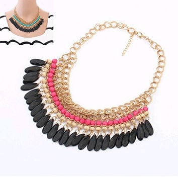 Bohemia Jewelry Necklace 2016 Fashion Water Drop Acrylic Chain Collar Gold Necklace & Pendant Tassel Statement Necklace Women