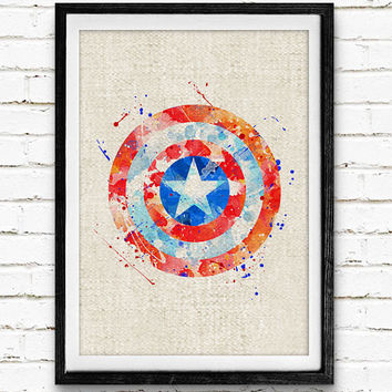Captain America Shield Watercolor Art Print, Marvel Superhero Watercolor Poster, Boys Room Wall Art, Not Framed, Buy 2 Get 1 Free!