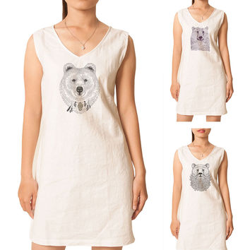 Women Bears in hand draw style Printed Vintage Linen Mini Shift Dress WDS_02