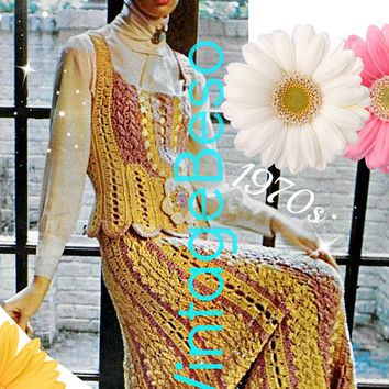RARE Boho Shell Dress Vintage Crochet PATTERN 1970s Victorian Influenced Hard to Find Vest Ladies Flower Wedding Dress Instant Download PDF