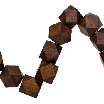 10 BROWN Geometric Wood Beads 20mm x 24mm Colored Rustic Polyhedron faceted cube wooden beads Eco Friendly DIY Crafts large hole H215