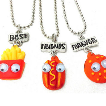 Best Friend Forever BFF pendant bead chain charm necklace fast food cute lovely chips hot dog hamburger kids jewelry movable eye