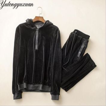2017 Full Solid New Madrid Tracksuit Velvet Men 2 Piece Sets Suits Outfits Casual Long Sleeve Hoodies And Pants Slim Sweatsuit